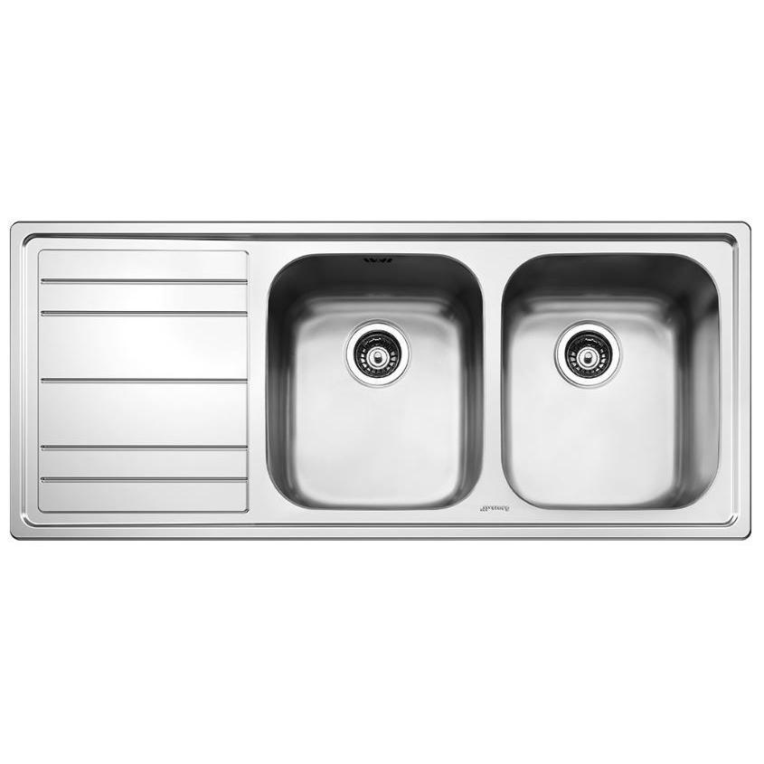 Smeg Rigae LEH116S Left Hand Drainer Double Stainless Steel Inset Sink