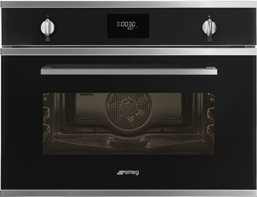 Smeg Cucina SF4401MN Black Built In Microwave with Grill