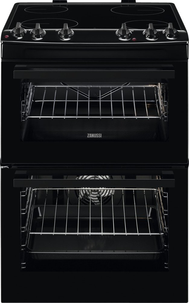 Zanussi ZCV66050BA Ceramic Electric Cooker with Double Oven