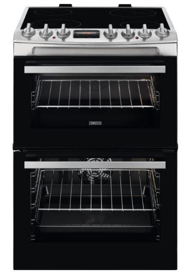 Zanussi ZCV69360XA Ceramic Electric Cooker with Double Oven