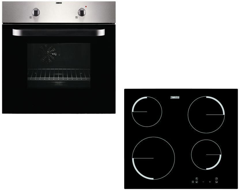 Zanussi ZPVF4130X Single Built In Electric Oven & Hob Pack