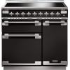 Rangemaster ELS90EIGB Elise Gloss Black with Brushed Chrome Trim 90cm Electric Induction Range Cooker