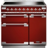 Rangemaster ELS90EIRD Elise Cherry Red with Brushed Chrome Trim 90cm Electric Induction Range Cooker