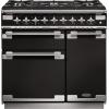 Rangemaster ELS90DFFGB Elise Gloss Black with Brushed Chrome Trim 90cm Dual Fuel Range Cooker