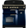 Rangemaster CDL90ECRB/B Classic Deluxe Regal Blue with Brass Trim 90cm Electric Ceramic Range Cooker