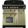 Rangemaster CDL90EIOG/B Classic Deluxe Olive Green with Brass Trim 90cm Electric Induction Range Cooker