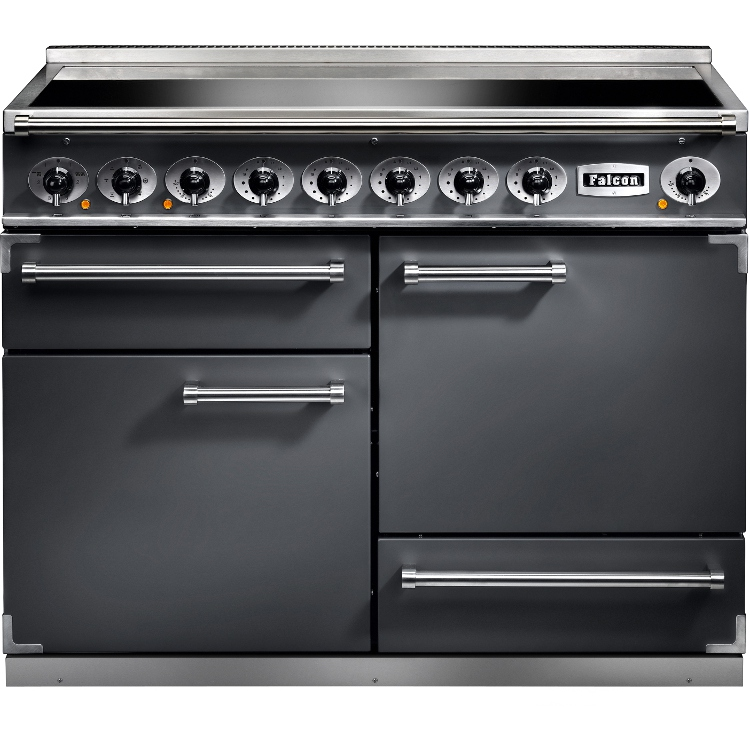 buy falcon 1092 deluxe slate brushed chrome 110cm electric induction range cooker 102300. Black Bedroom Furniture Sets. Home Design Ideas