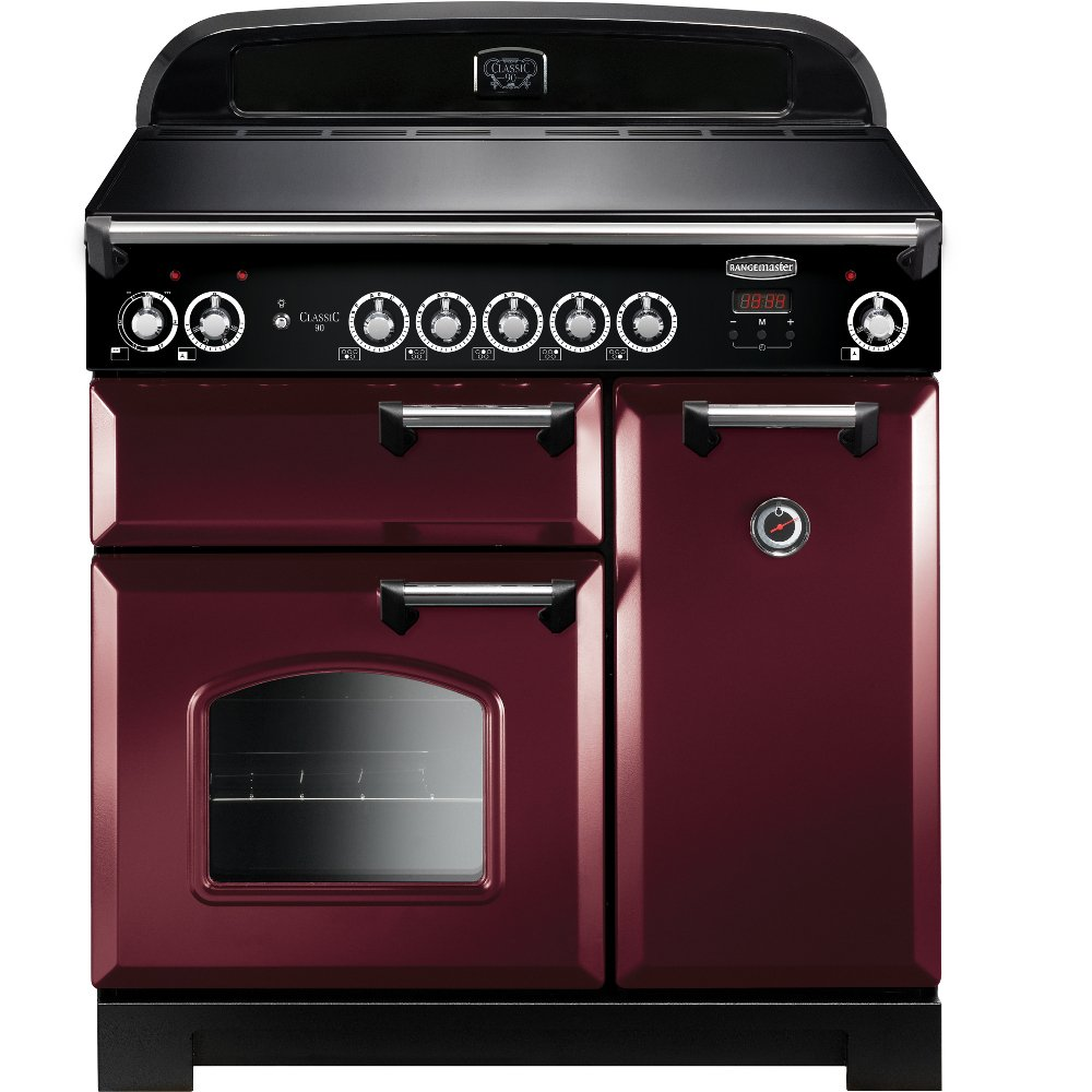 Rangemaster CLA90EICY/C Classic Cranberry with Chrome Trim 90cm Electric Induction Range Cooker