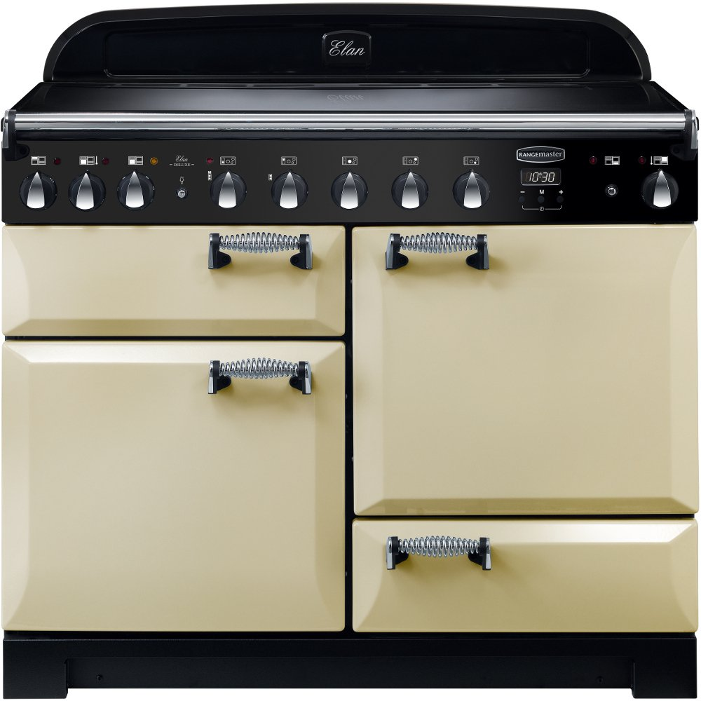 Rangemaster ELA110EICR Elan Deluxe Cream with Chrome Trim 110cm Electric Induction Range Cooker
