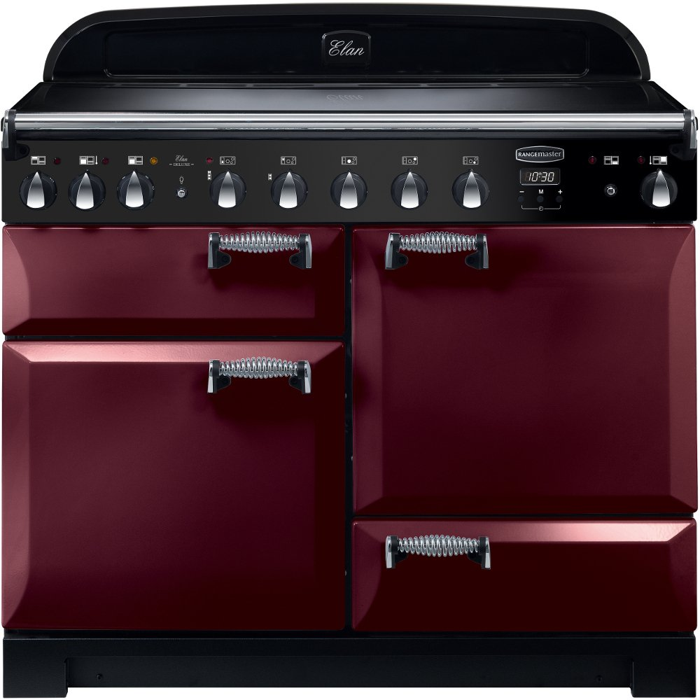 Rangemaster ELA110EICY Elan Deluxe Cranberry with Chrome Trim 110cm Electric Induction Range Cooker