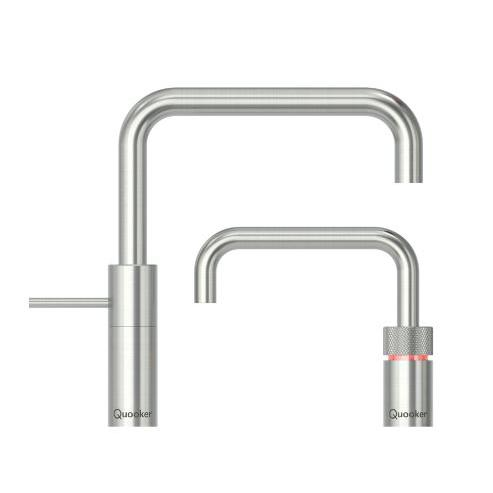 Quooker PRO3 Nordic Square Stainless Steel Boiling Water Twin Tap