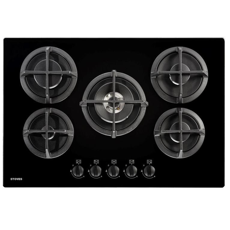 Stoves GTG75C Black 5 Burner Gas Hob