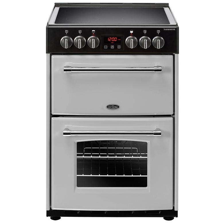 Belling Farmhouse 60E Silver Ceramic Electric Cooker with Double Oven