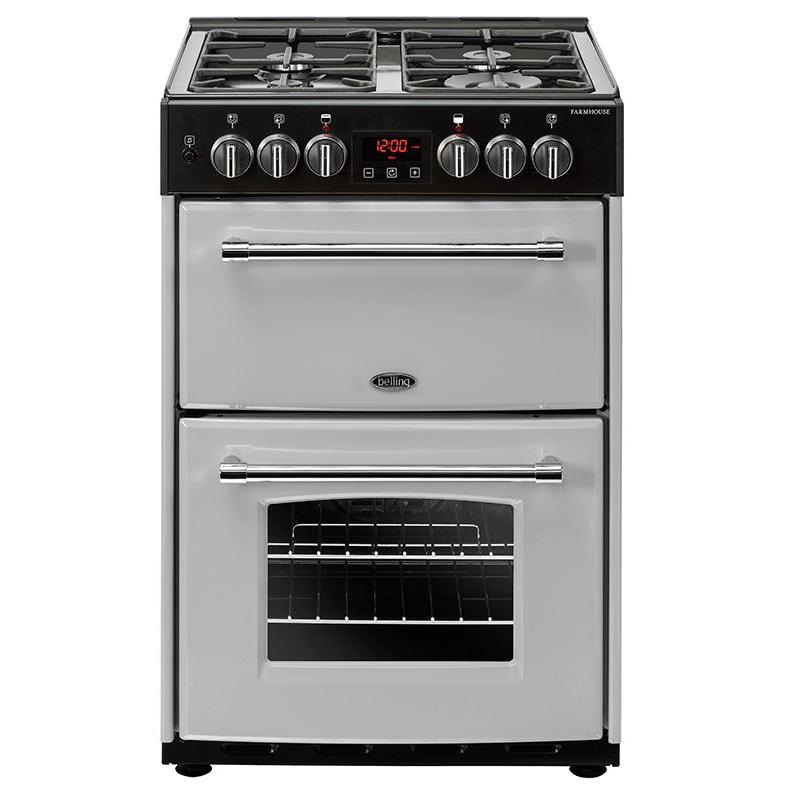 Belling Farmhouse 60DF Silver Dual Fuel Cooker with Double Oven