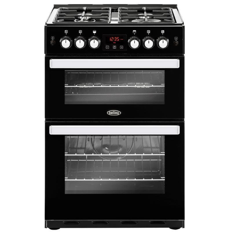 Belling Cookcentre 60G Black Gas Cooker with Double Oven
