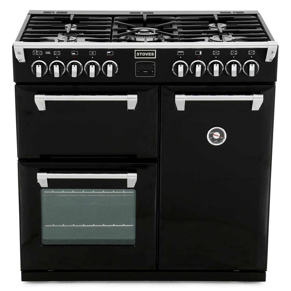 buy stoves richmond 900dft black 90cm dual fuel range. Black Bedroom Furniture Sets. Home Design Ideas