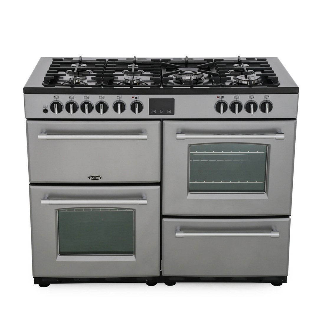 Belling Farmhouse 110DF Silver 110cm Dual Fuel Range Cooker