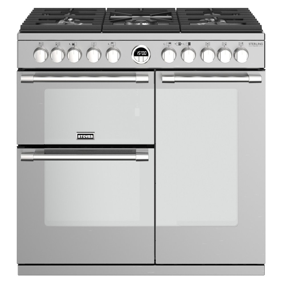 Stoves Sterling Deluxe S900DF Stainless Steel 90cm Dual Fuel Range Cooker