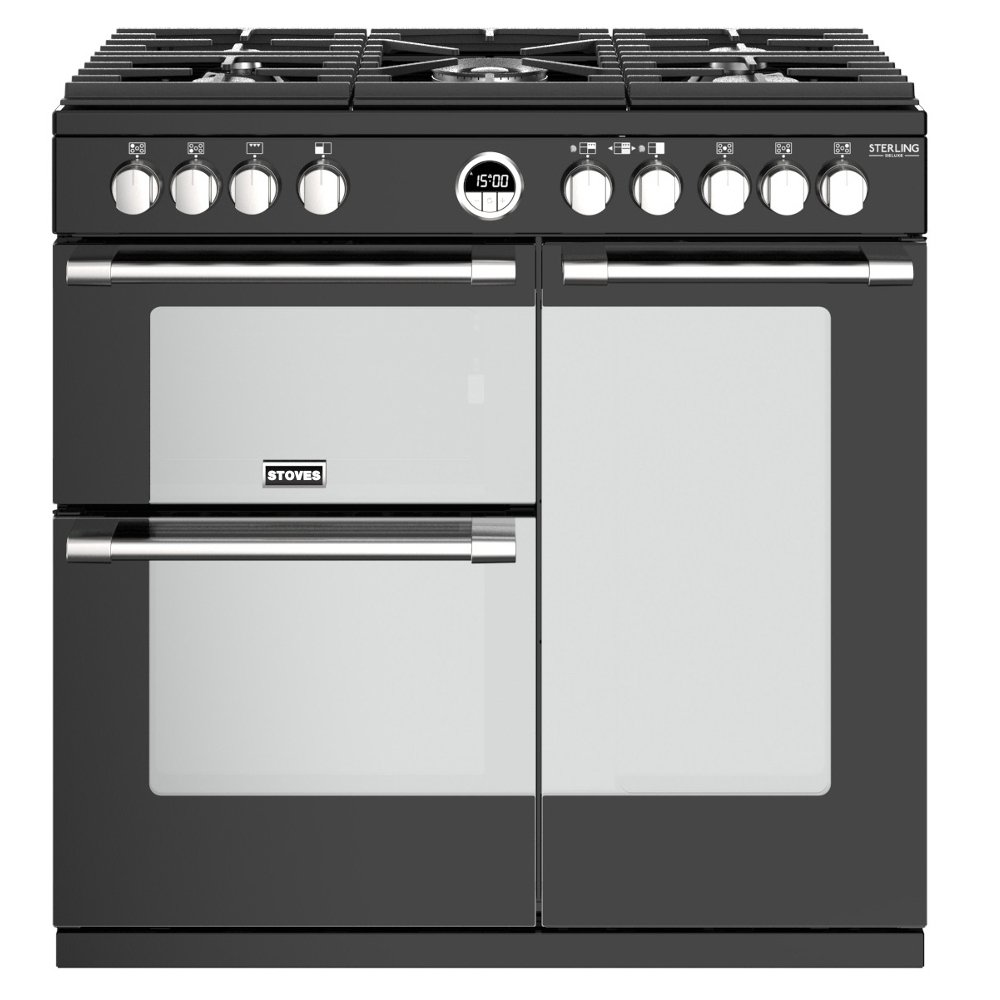 Stoves Sterling Deluxe S900G Black 90cm Gas Range Cooker