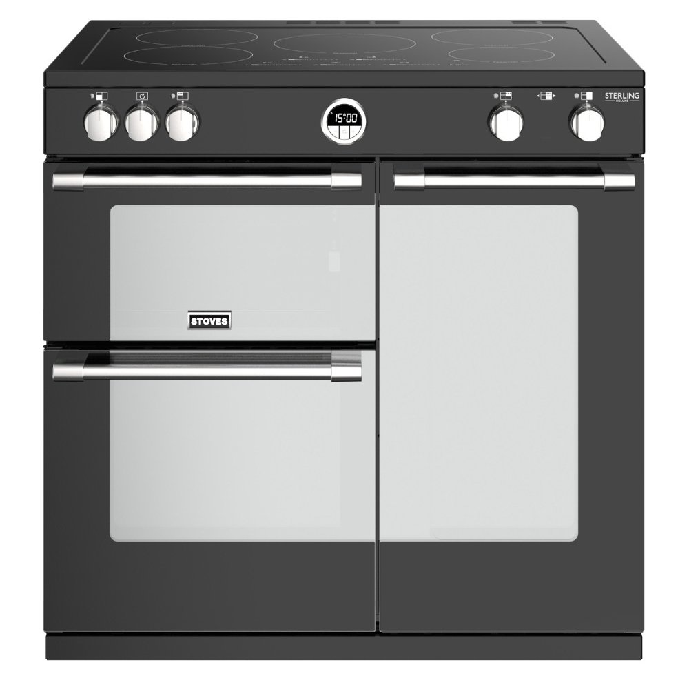 Stoves Sterling Deluxe S900Ei Black 90cm Electric Induction Range Cooker