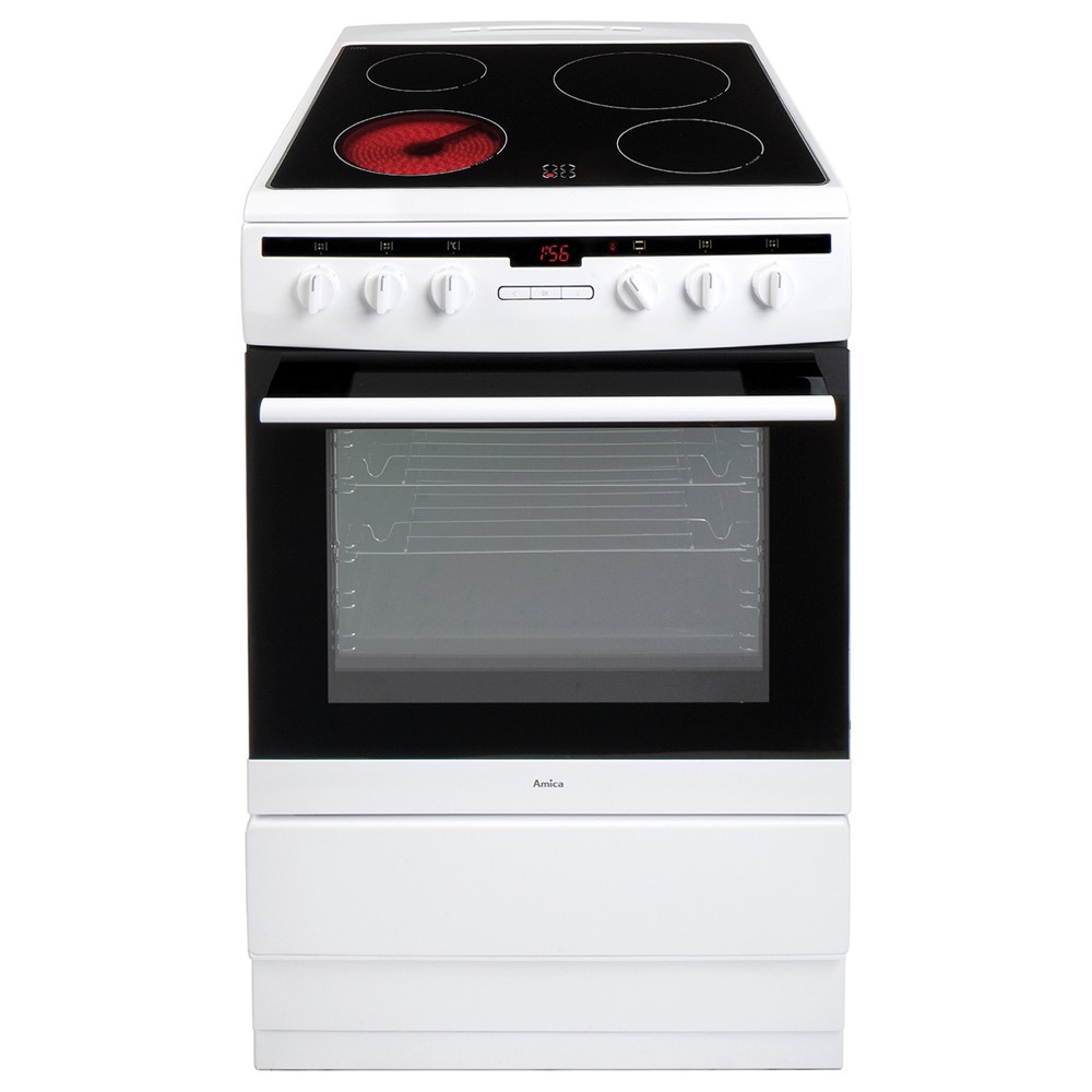 Amica 608CE2TAW Ceramic Electric Cooker with Single Oven