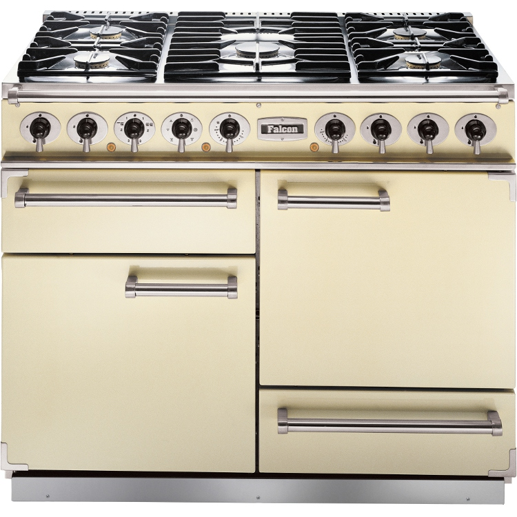buy falcon 1092 deluxe cream chrome 110cm dual fuel range cooker 69150 cream with chrome. Black Bedroom Furniture Sets. Home Design Ideas