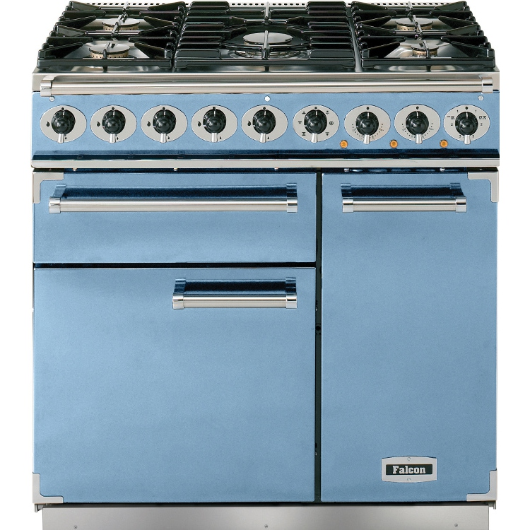 buy falcon 900 deluxe china blue brushed chrome 90cm dual fuel range cooker 80850 china blue. Black Bedroom Furniture Sets. Home Design Ideas