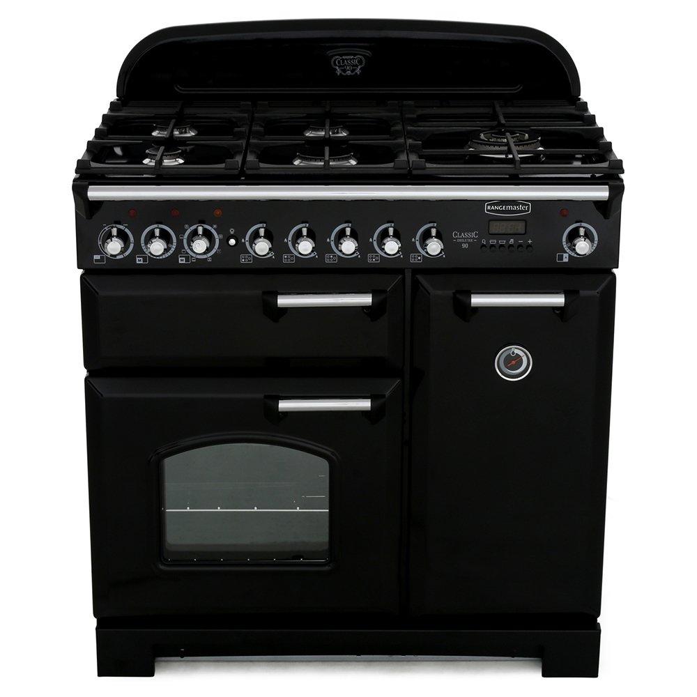 Rangemaster CDL90DFFBL/C Classic Deluxe Gloss Black with Chrome Trim 90cm Dual Fuel Range Cooker