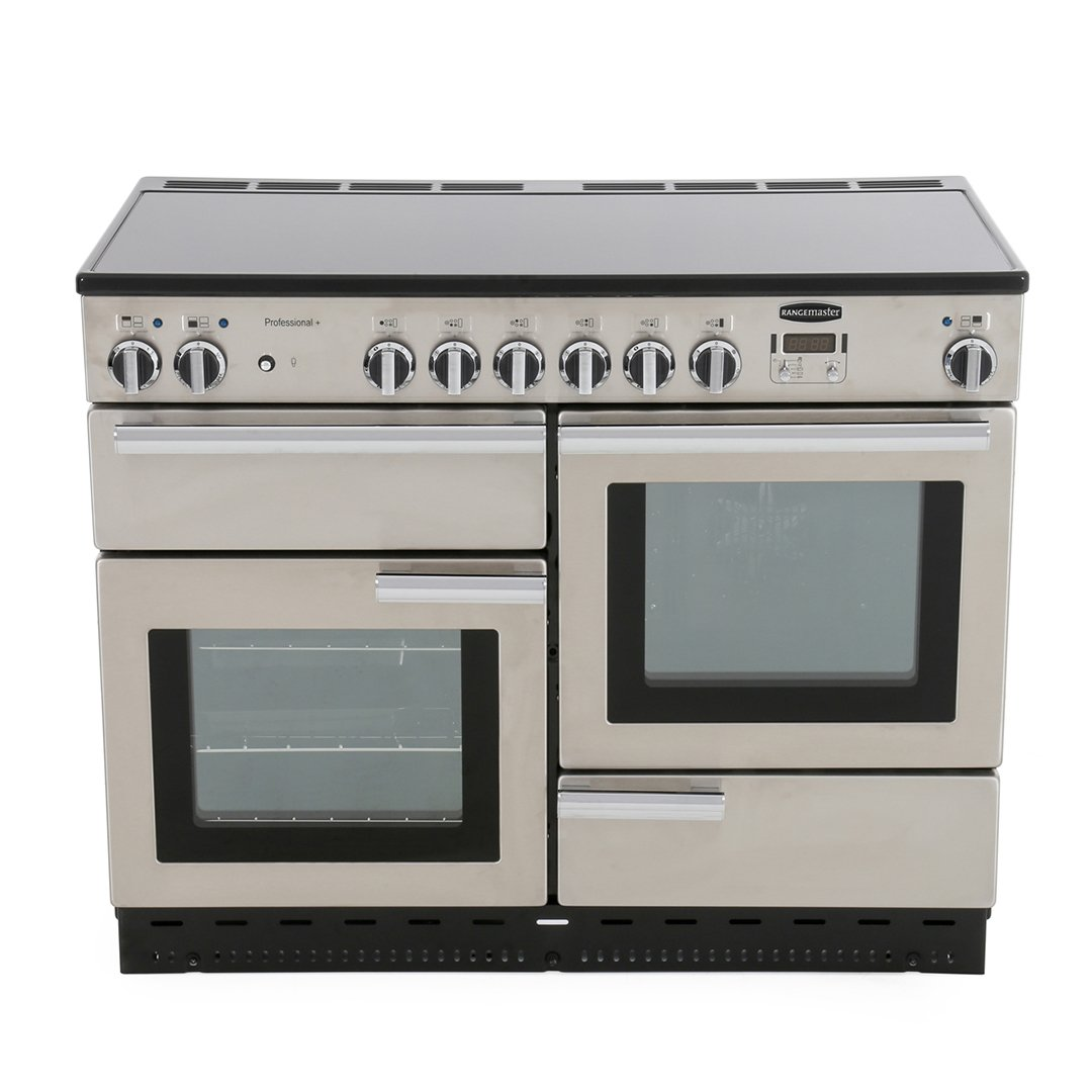 Rangemaster PROP110ECSS/C Professional Plus Stainless Steel with Chrome Trim 110cm Electric Ceramic Range Cooker