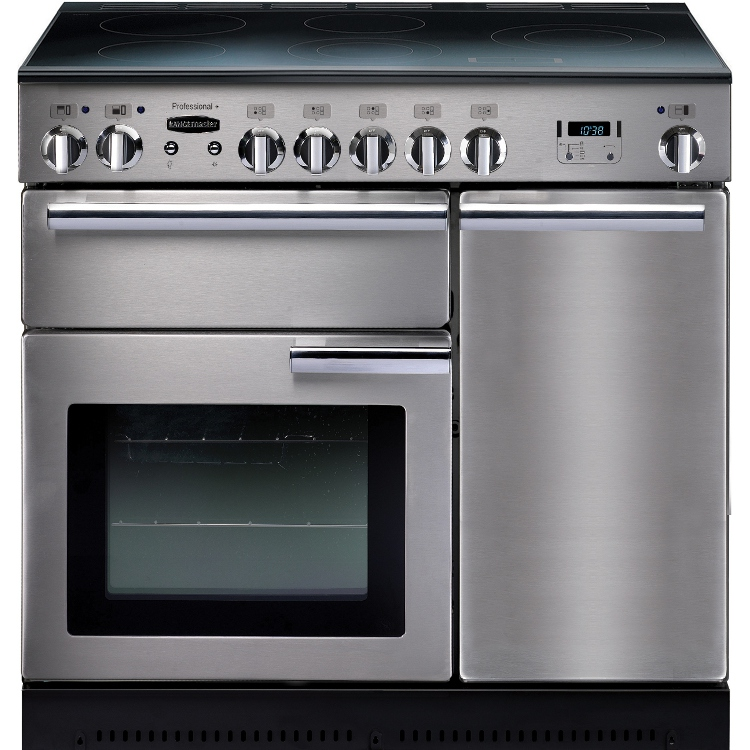 Rangemaster PROP90ECSS/C Professional Plus Stainless Steel with Chrome Trim 90cm Electric Ceramic Range Cooker