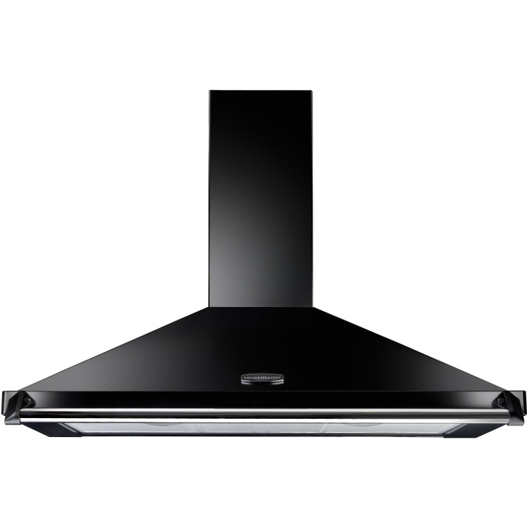 Rangemaster CLAHDC110BC Classic Black with Chrome Trim 110cm Chimney Hood