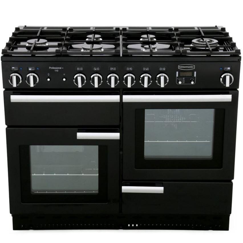 Rangemaster PROP110DFFGB/C Professional Plus Black with Chrome Trim 110cm Dual Fuel Range Cooker