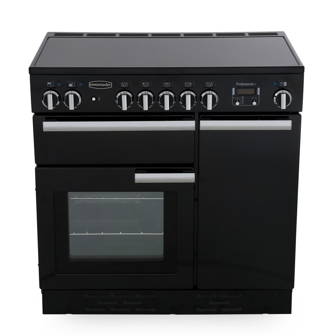 Rangemaster PROP90EIGB/C Professional Plus Gloss Black with Chrome Trim 90cm Electric Induction Range Cooker
