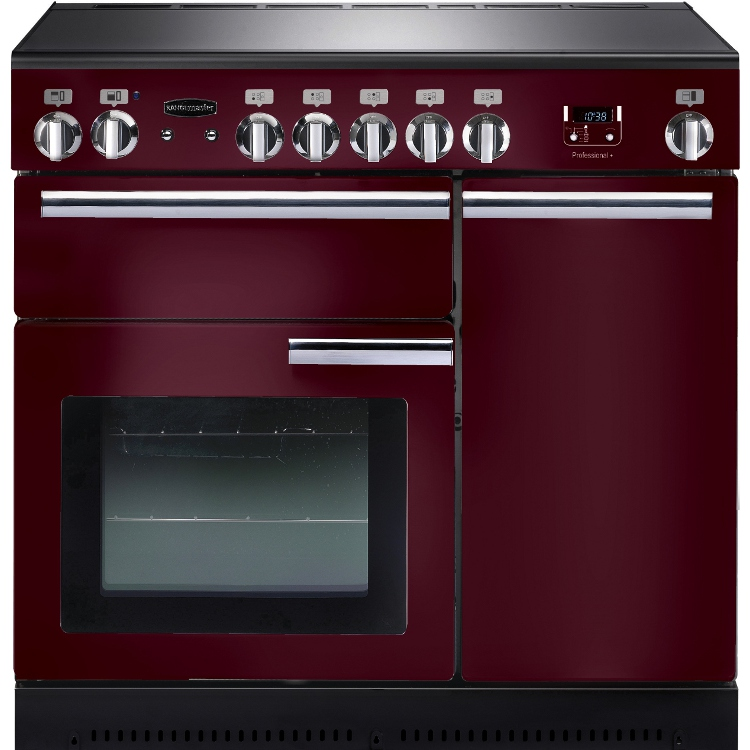 Rangemaster PROP90EICY/C Professional Plus Cranberry with Chrome Trim 90cm Electric Induction Range Cooker
