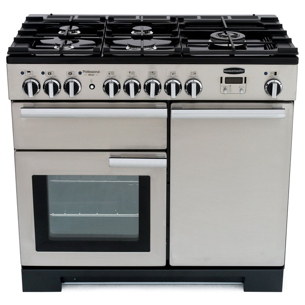 Rangemaster PDL100DFFSS/C Professional Deluxe Stainless Steel with Chrome Trim 100cm Dual Fuel Range Cooker