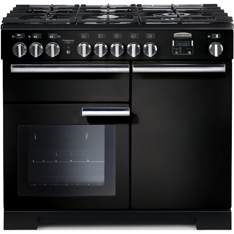 Rangemaster PDL100DFFGB/C Professional Deluxe Gloss Black with Chrome Trim 100cm Dual Fuel Range Cooker