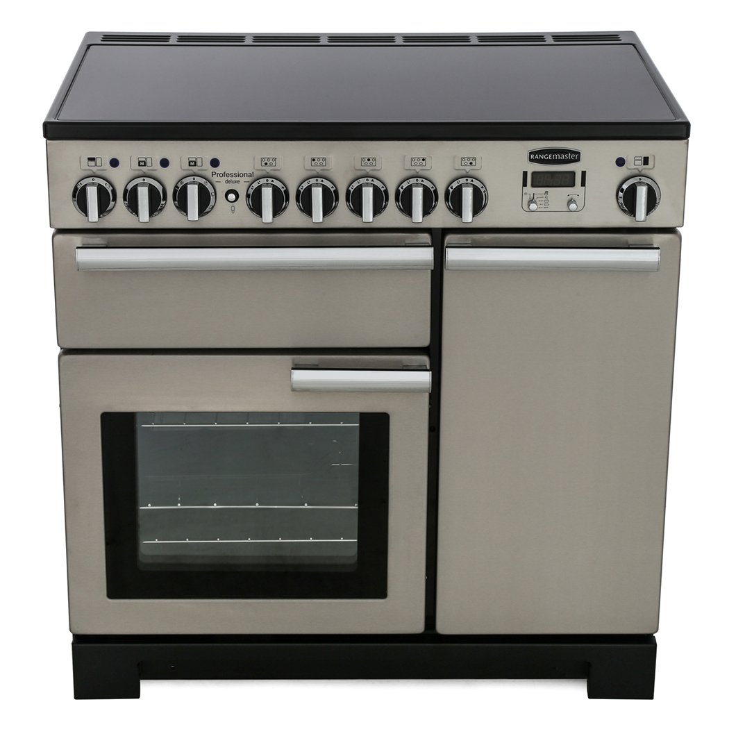 Rangemaster PDL90EISS/C Professional Deluxe Stainless Steel with Chrome Trim 90cm Electric Induction Range Cooker
