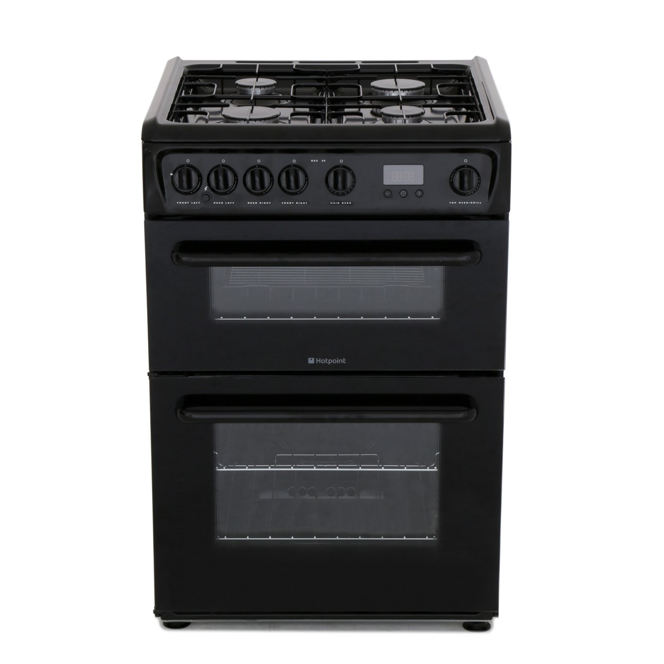 Buy Hotpoint Hag60k Gas Cooker With Double Oven Black