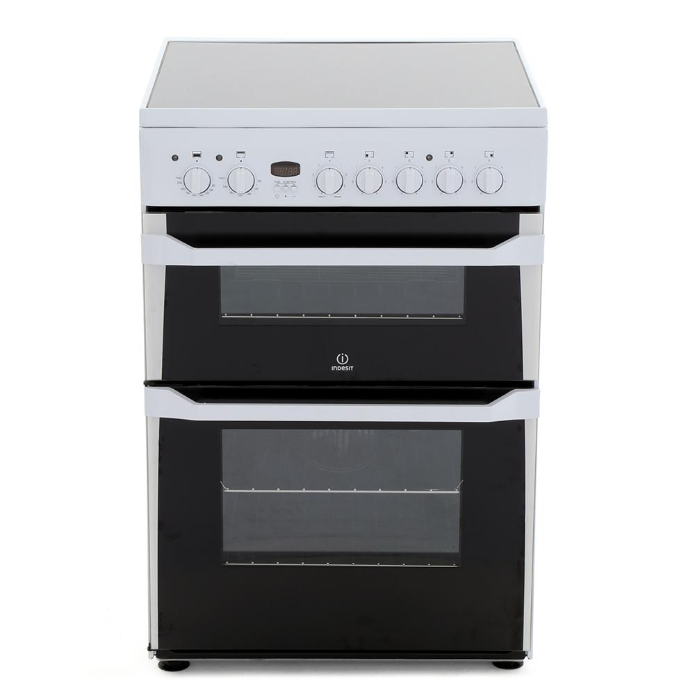 Indesit ID60C2WS Ceramic Electric Cooker with Double Oven