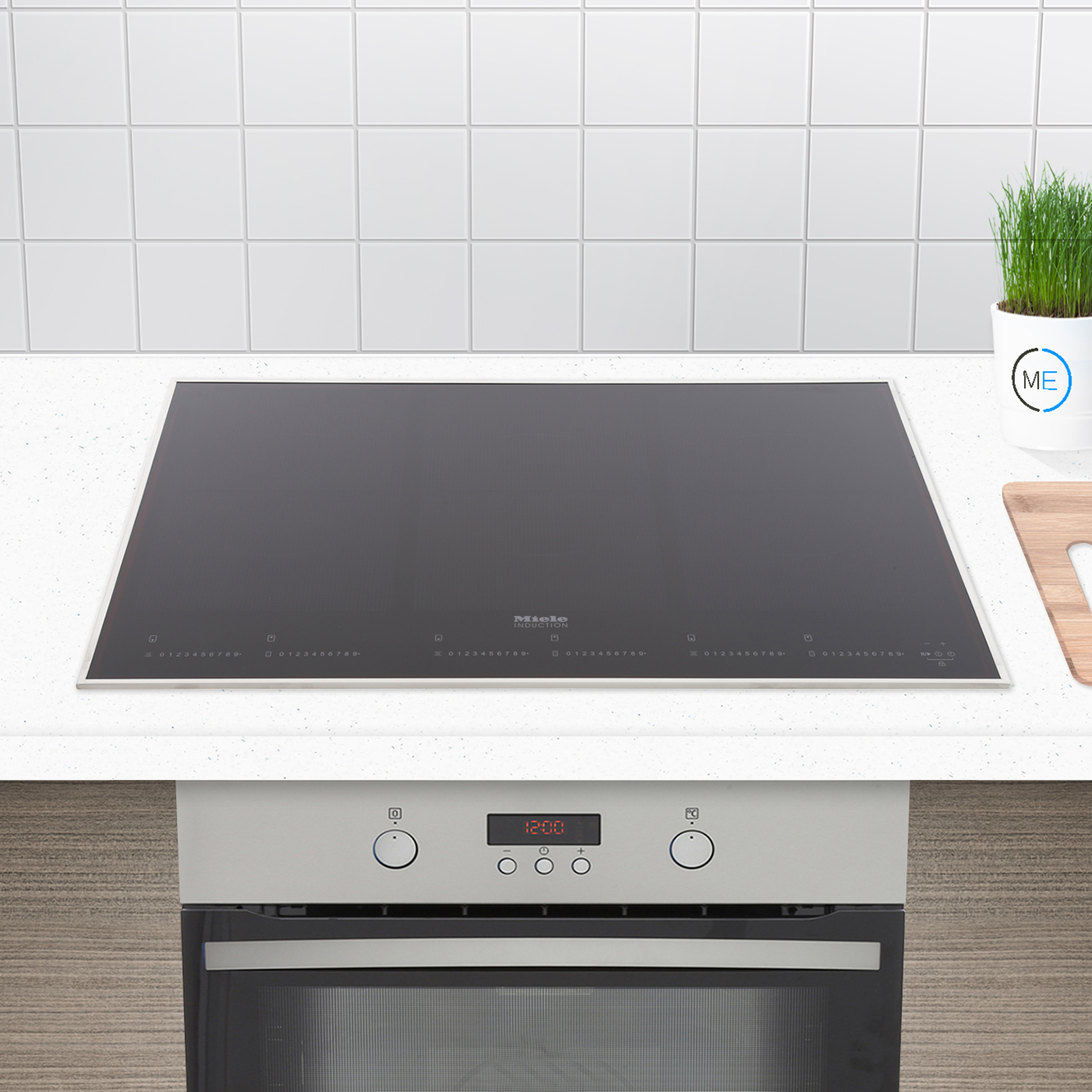buy miele km6366 1 induction hob raised stainless steel trim marks electrical. Black Bedroom Furniture Sets. Home Design Ideas