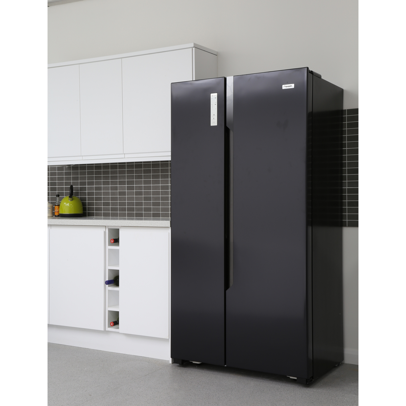 Black Glass American Fridge Freezer With Ice And Water