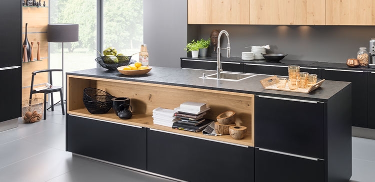 Black Feel and Oak Champagne with Cement Anthracite worktop