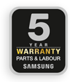 5 Year Warranty - Parts and Labour from Samsung