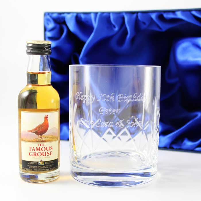 Personalised Crystal Glass & Whisky Gift Set