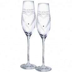 Personalised Swarovski Heart Flutes