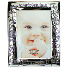 Personalised Silver Plated Christening Day Photo Frame