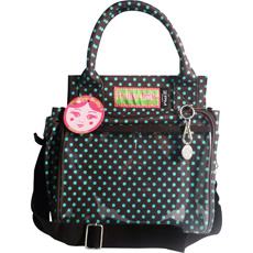 Trolley Dolly Eco Shopping Bag - Mini Dot Turquoise and Chocolate