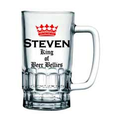 Personalised 'King of Beer Bellies' Pint Glass