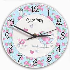 Personalised Floral Birds Clock