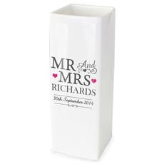 Personalised Mr & Mrs Square Vase